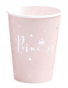 8 bicchieri in cartone rosa Princess