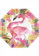 8 piatti in cartone fenicotteri tropicali 25 cm