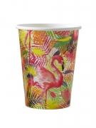 8 bicchieri in cartone fenicotteri tropicali