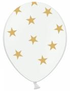 6 palloncini trasparenti con stelle dorate