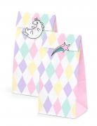 6 sacchetti rombi pastello e unicorno con adesivi