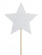 6 decorazioni per torta stelle argento con brillantini