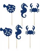 6 decorazioni per dolci animali marini blu