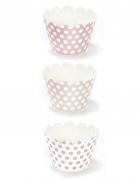 6 pirottini per cupcakes in cartone a pois rosa