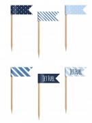 6 mini bandierine su stecchino nei toni del blu