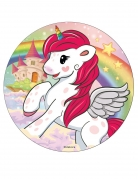 Disco di zucchero con unicorno multicolor 16 cm