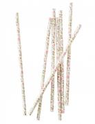25 cannucce in cartone motivo floreale