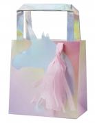 5 sacchetti regalo unicorno iridescente con pon pon