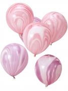 10 palloncini rosa e violaeffetto marmo