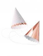 6 cappellini per festa oro rosa e a pois