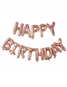 Palloncino con lettere Happy Birthday oro rosa