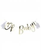 Ghirlanda Oh Baby dorata con pon pon bianchi