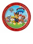 8 piattini in cartone rossi Paw Patrol™ 20 cm