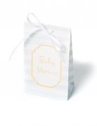 10 scatoline a righe celesti Baby Shower