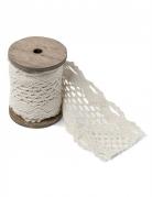 Nastro in maglia ricamato bianco