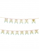 Ghirlanda in cartone Happy Birthday oro e pastello