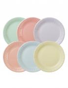 12 piatti in cartone 6 colori pastello 23 cm