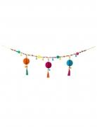 Ghirlanda con pompom e nappe stile Boho multicolore 1 m