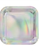 8 piatti quadrati iridescenti 23 cm