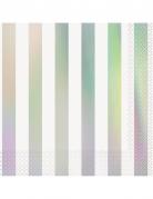 16 tovaglioli di carta bianchi con righe iridescenti