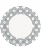 8 piatti in cartone grigi con pois bianchi 23 cm