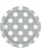 8 piattini in cartone grigi con pois bianchi 18 cm