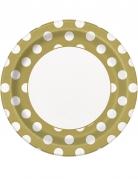 8 piatti in cartone dorati con pois bianchi 23 cm