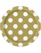 8 piattini in cartone dorati con pois bianchi 18 cm