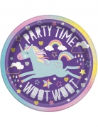 8 piattini in cartone party unicorno 18 cm