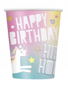 8 bicchieri in cartone Happy Birthday party unicorno