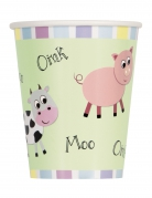 8 bicchieri in cartone animali della fattoria