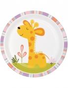 8 piattini in cartone animali della giungla rosa 18 cm