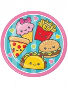 8 piattini in cartone Junk Food 18 cm