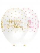 6 palloncini in lattice Happy Birthday pois rosa e oro