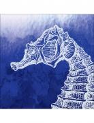 24 tovagliolini di carta blu con cavalluccio marino