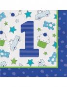 16 Tovaglioli in carta 1° compleanno blu 33 cm
