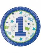 8 Piatti in cartone 1° compleanno blu 22 cm