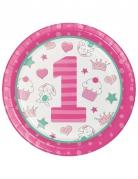 8 Piatti in cartone 1° compleanno rosa 22 cm