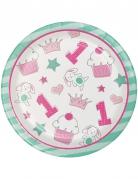 8 Piattini in cartone 1° compleanno rosa 18 cm