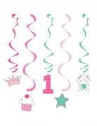 5 sospensioni a spirale 1° compleanno rosa e menta