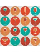 24 tovagliolini di carta cerchi e cocktail