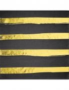 16 tovaglioli di carta a righe nere e oro