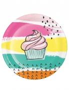 8 piattini di carta Cupcake rosa 18 cm