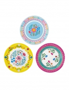 8 piatti in cartone con fiori gipsy 23 cm