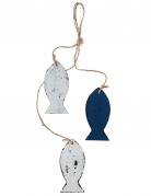 Sospensione in legno con pesci bianchi e blu