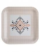 10 piatti in cartone quadrati motivo etnico 23 cm
