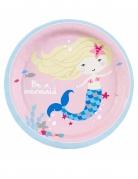 8 piattini in cartone rosa sirenetta 18 cm