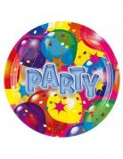 8 piatti cartone con palloncini party 23 cm