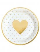 8 piatti in cartone bianchi cuori oro 23 cm