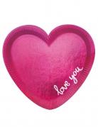 6 piatti in cartone a forma di cuore rosa 20 cm